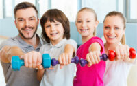 family of four with mini weights